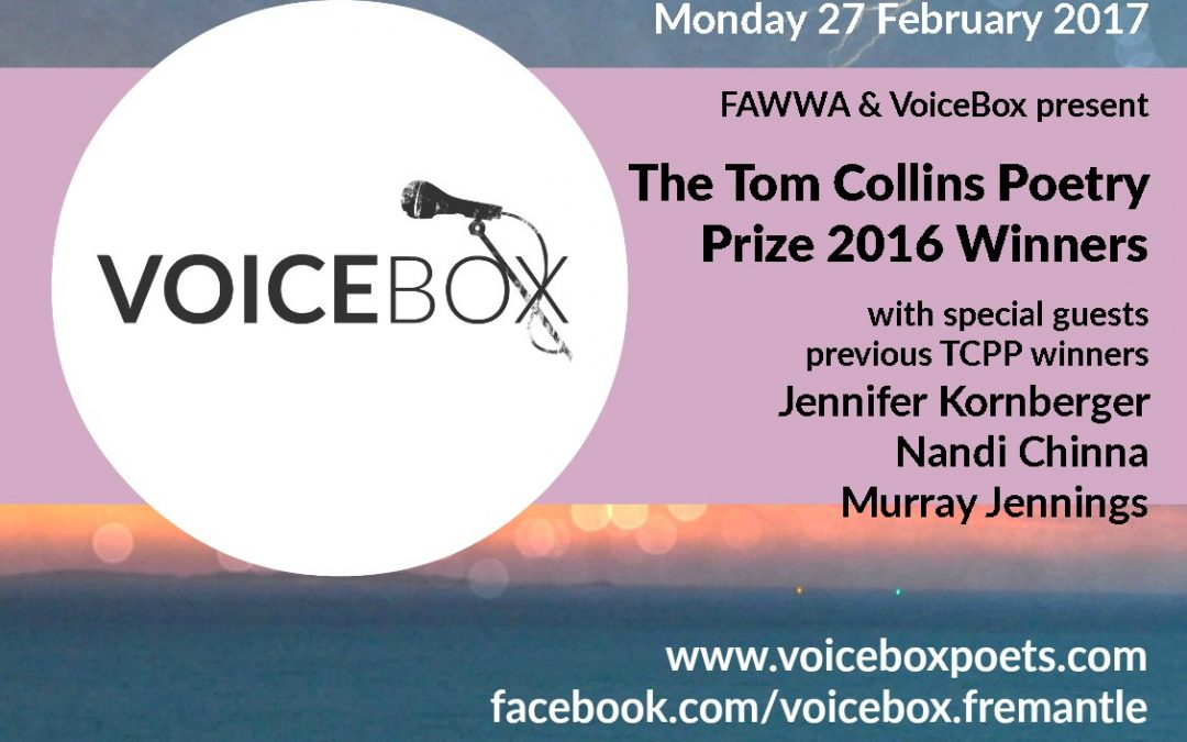 FAWWA & VoiceBox present The Tom Collins Poetry Prize 2016 Winners
